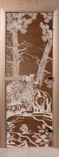 """Дверь для саун """"Мишки в лесу"""" спецпредложение бронза"""