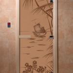 """Дверь для саун """"Голубая лагуна"""" бронза матовая"""