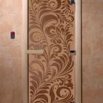 "Двери для саун ""Хохлома"" бронза матовая"