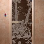 """Дверь для саун """"Мишки в лесу"""" черный жемчуг"""