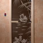 """Дверь для саун """"Голубая лагуна"""" черный жемчуг"""