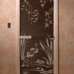 """Дверь для саун """"Камышовый рай"""" черный жемчуг"""