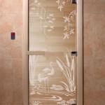 """Дверь для саун """"Камышовый рай"""" прозрачная"""