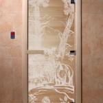 """Дверь для саун """"Мишки в лесу"""" прозрачная"""